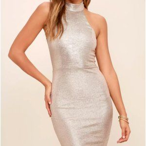 Diamond Heart Gold Bodycon Dress